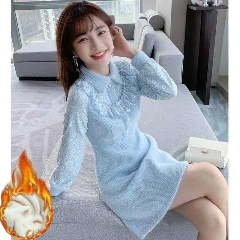 Sonbahar 2021 Yeni kadın modası örme veya tığ işi ince yaka bir çizgi giyinmiş Y277 lwcv