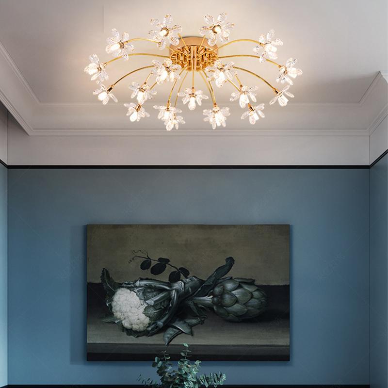 Nordic Yatak Odası LED Işık Oturma Odası Yıldızlı Kristal Tavan Lambası Yaratıcı LED Kristal Lambaları Model Odası Yemek Odası Kristal Tavan Işıkları