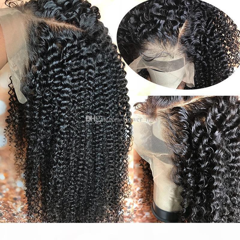 Silk Top Full Lace Wigs com Seletor Natural Kinky Curly Virgem Brasileira Humano Cabelo Humano Base de Silva Renda Frente Perucas Glueless Branqueado Nós