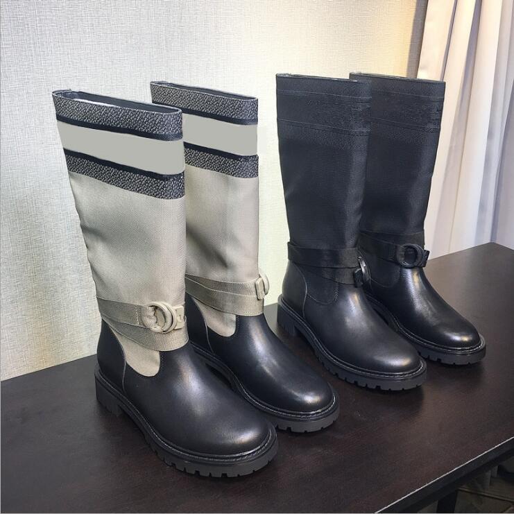 Горячая Продажа-Новые Cowhide колющего Летающие Вязать носки обувь Женщина Платформа Martin голеностопного загрузки Mid-тюбик Knight Boots