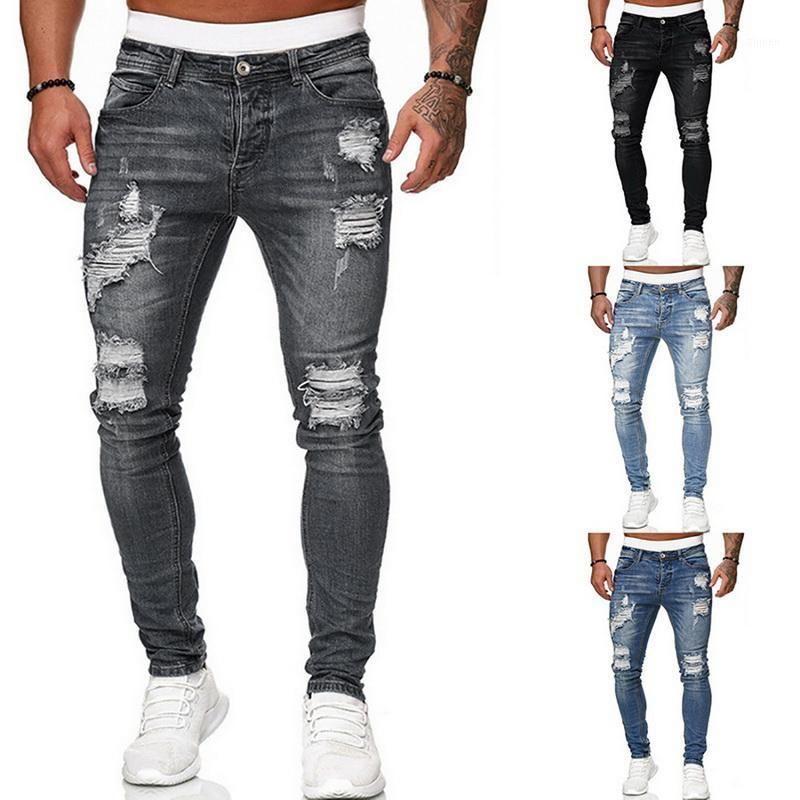 Pantaloni da uomo con fori da uomo con fori da uomo Pantaloni da uomo sottile pantaloni da uomo sottile casual cowboys cowboys giovane uomo jogging pants1