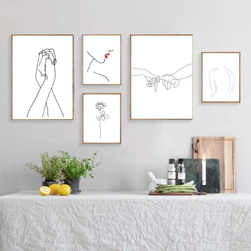 Line Drawing Поцелуй Handholding Холст плакат Аннотация стена искусство Картина печать Минималистский Nordic Decoration Изображение Home Decor