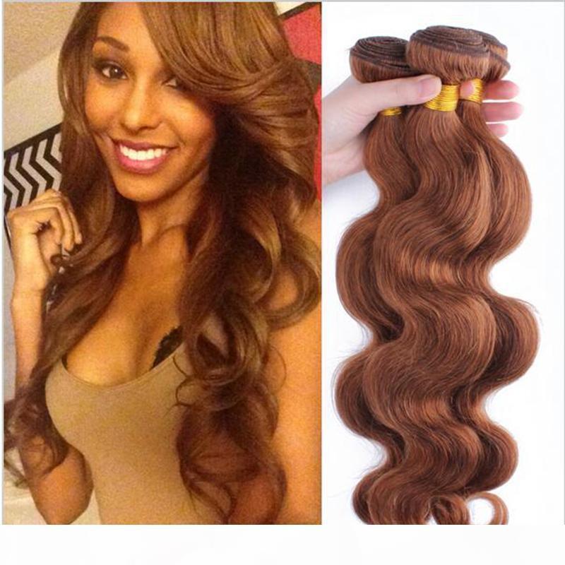 Чистый цвет # 30 Темно-коричневые Бразильские Девы Человеческие Волос Волосы Уифет Усиление Тело Волны Плетение 3 Пачка Сновидения DHL Бесплатная Доставка