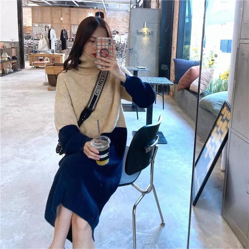 JXMYY 2020MID uzunlukta diz boyu örme yüksek boyunlu elbise palto ve gevşek ve kalın renk blok kazak etek kadınlar için # yy9e