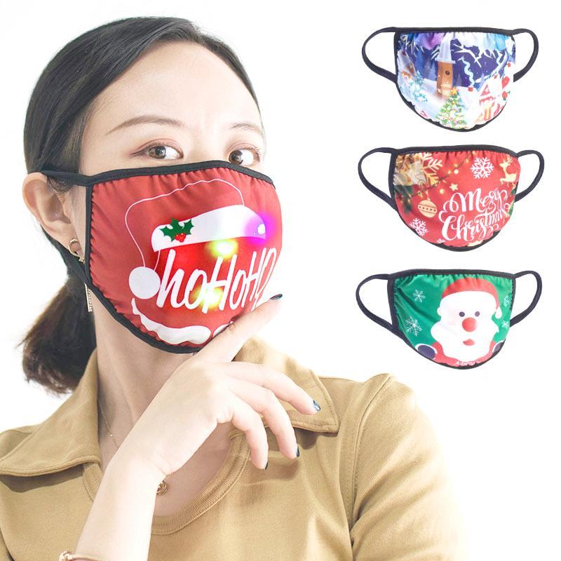 LED Noel Tasarımcı Yüz Maskesi Pamuk Maskeler Noel Süsleri Maske Güneş kremi toz geçirmez Asma Kulak Tipi Parlak Maskeler Maske