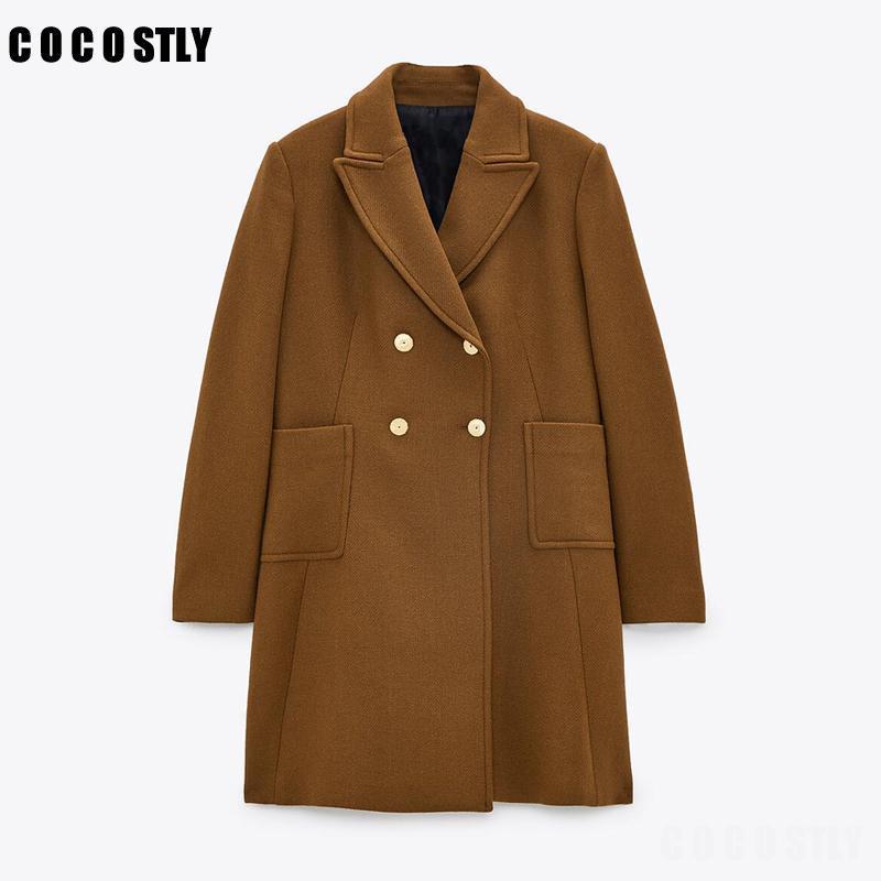 المرأة الصوف يمزج معطف الشتاء النساء 2021 الأزياء مزدوجة الصدر فضفاض الصوف خمر طويلة الأكمام جيوب الإناث قميص أنيقة معطف