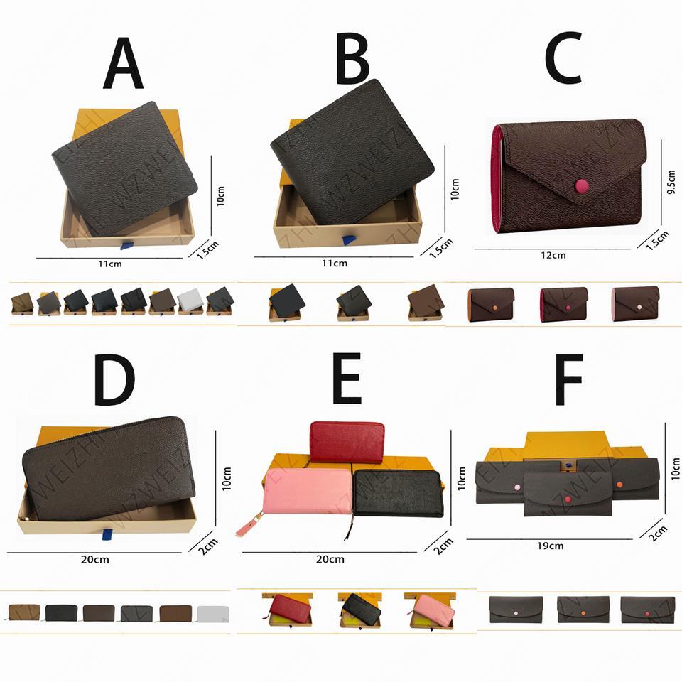 Großhandel Eine Reihe von hochwertigen Herren- und Frauen-Geldbörsen lange kurze einzelne Reißverschluss geprägte Leder-Brieftasche mit Box-Karte 26 Farben