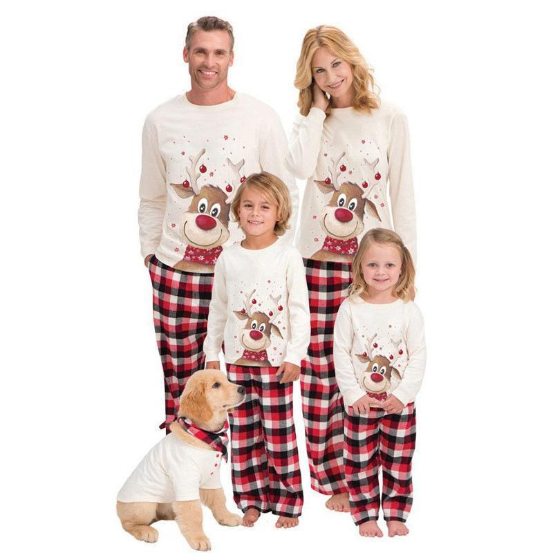 Printing Pajamas Lovely Sleepwear Long Sleeves Family Matching New Christmas Kids Womens Elk Pajama Suit 2020 34wm K2