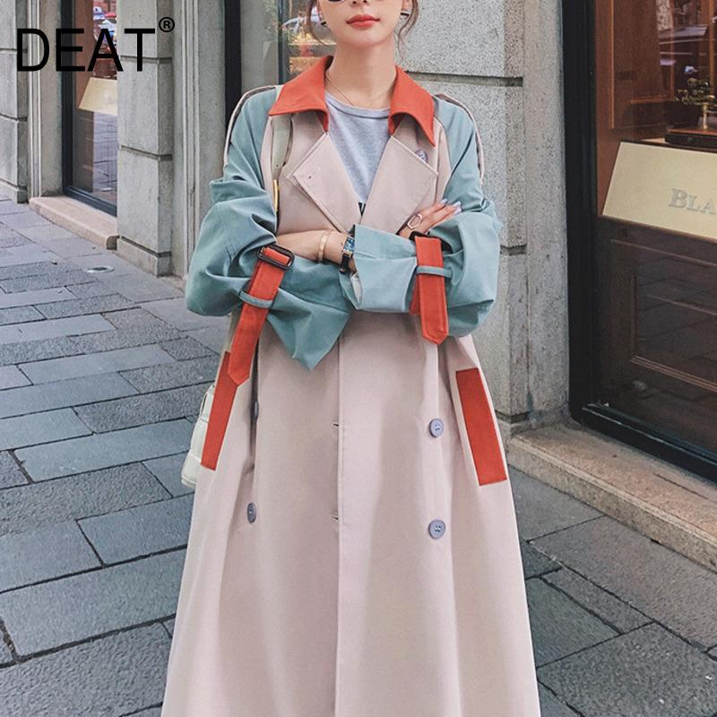 [DEAT] Women's Coat Lapel Collar Hit Color Tassel Belt Over Size Over Long Length Causal Wild Autumn Fashion Clothing AM792 201015