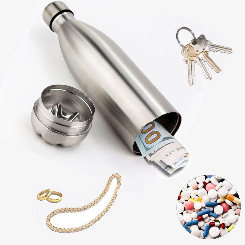 Diversion Bouteille d'eau Secret Stash Pilier Organisateur peut protéger la tache de cachette en acier inoxydable Spot pour l'argent Bonus Boissons Outil 201126