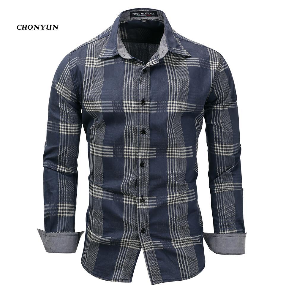2020 Brand New Shirt Casual Hommes Denim manches longues Slim Fit rayures Chemises Camisa affaires Robe Respirant Shirt Vêtements pour hommes LJ200928