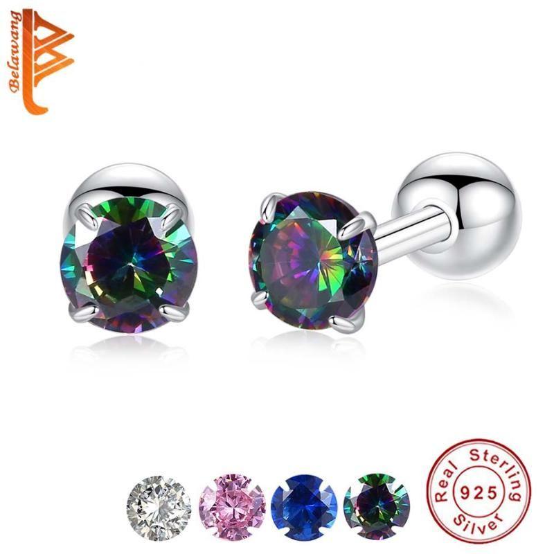 Belawang Elegant Square Crystal Stud Orecchini per le donne signore 925 sterling argento + zirconia orecchini regalo gioielli da sposa