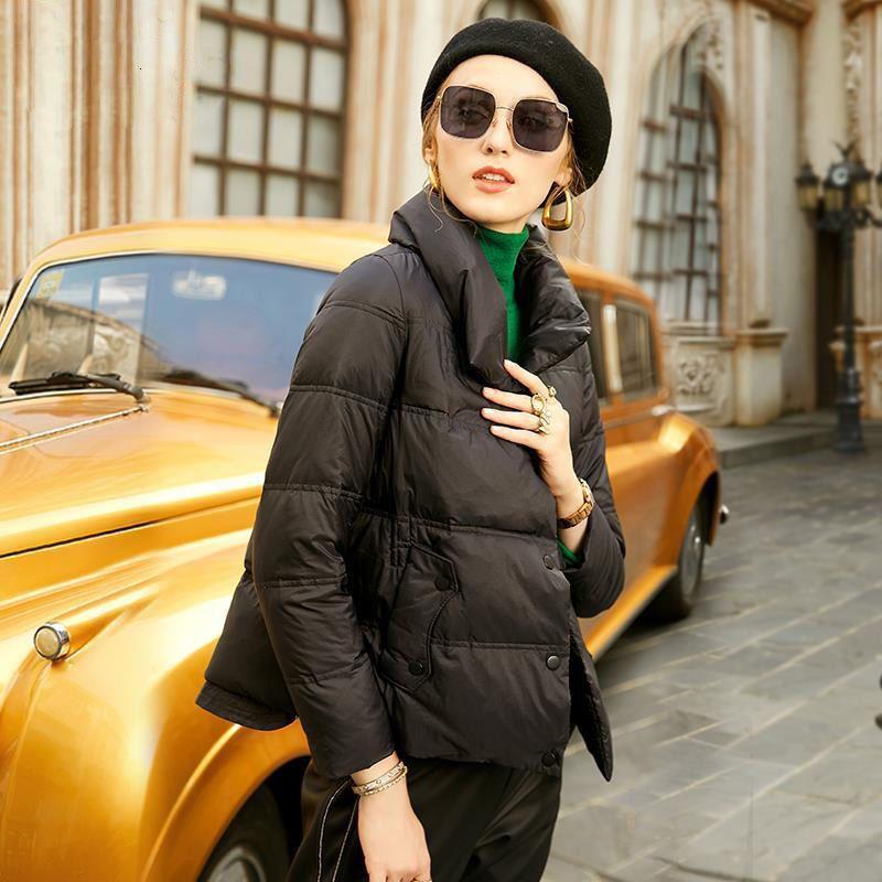 Single Breasted Imitation Down Jacket da donna 2020 Inverno Inverno NUOVO Cappotto di cotone caldo corto nero
