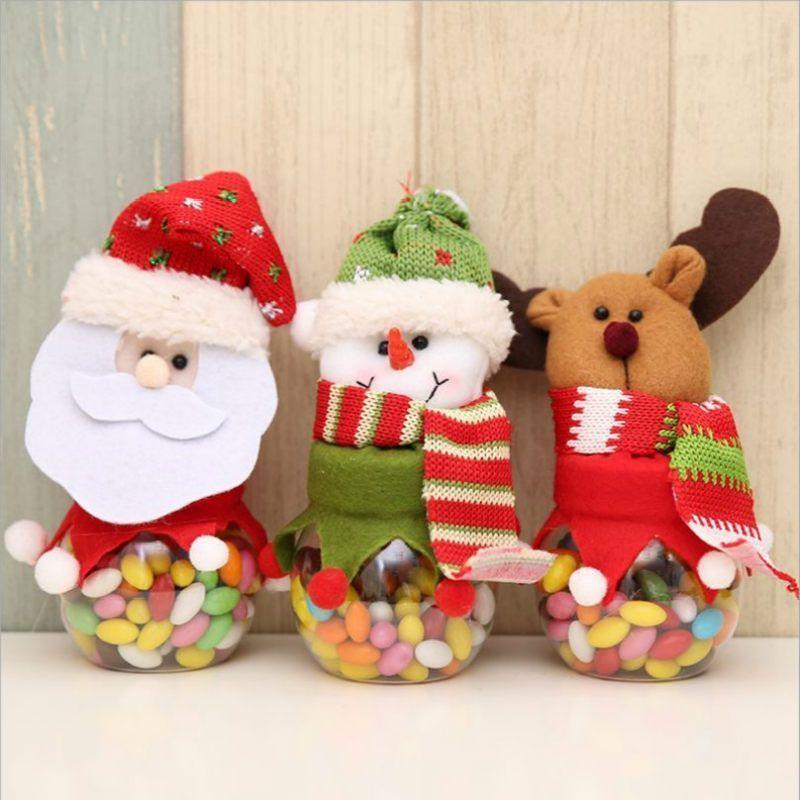 Nuevo niño caramelo Navidad de los niños tarro botella de almacenamiento de la venta Santa Bolsa Dulce Navidad caja de regalo caliente