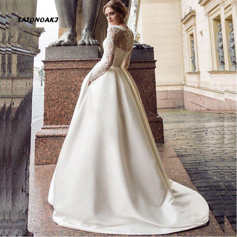 2020 Satin manches longues robe de mariage pour les femmes dentelle Princesa Robes de mariée Robe de Novia Undefined en ligne Mariage Inde Q1112 Boutique