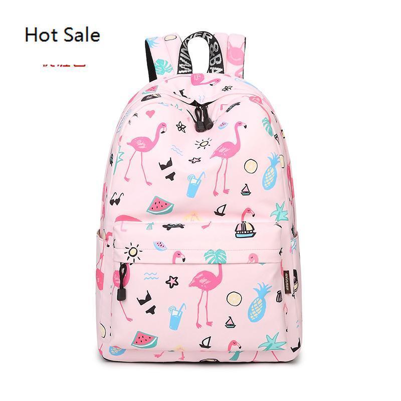 Vencedor Original Mochilas Mulheres bonito do flamingo impressão mochila para Adolescentes Laptop School Bolsas Mochila