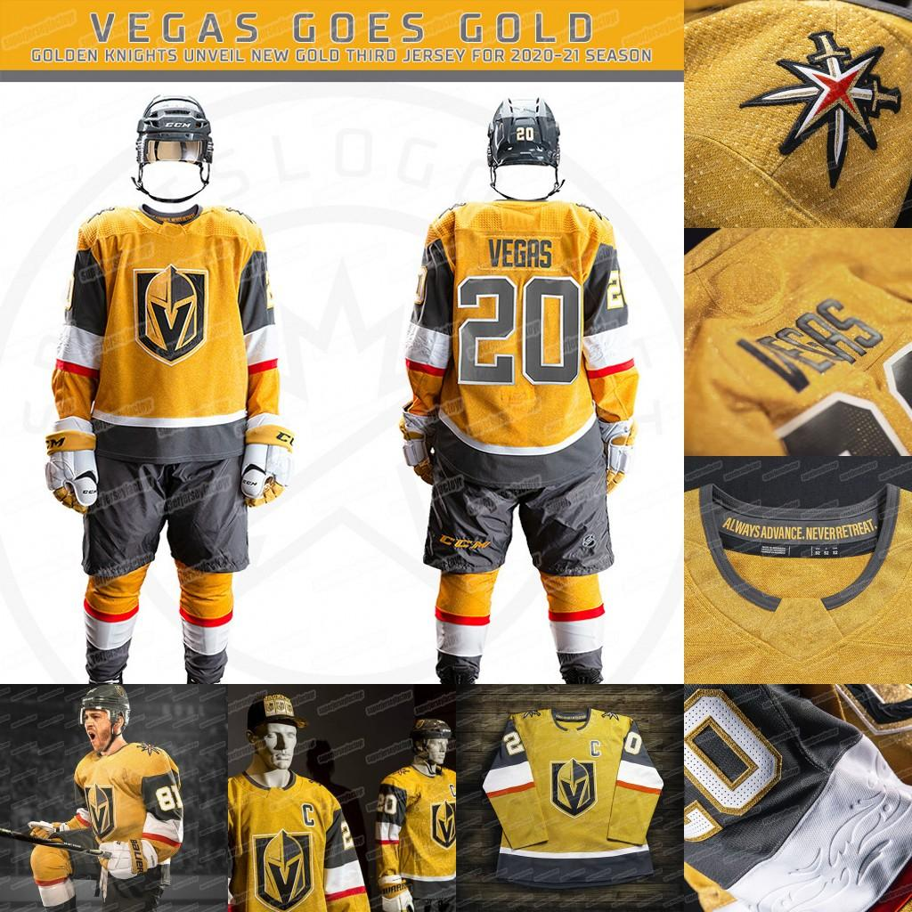 Vegas Golden Knights 2020 All Gold Third Jersey Marc-Andre Fleury Mark Stone Max Pacioretty Alex Tuch Tomas Nosek Lehner Reaves Karlsson
