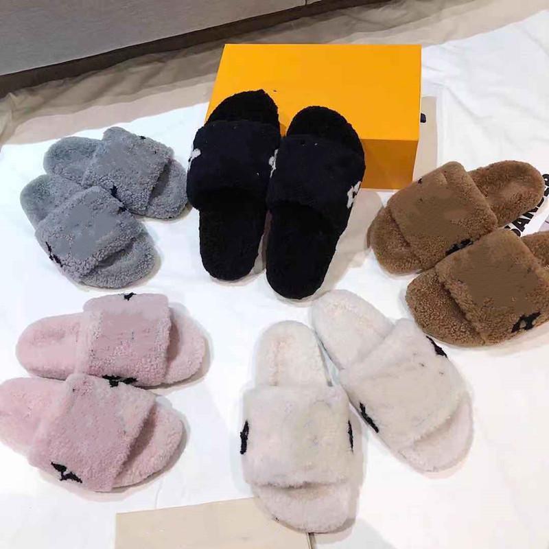 2020 Novas senhoras lã chinelos de madeira interior flat bottom anti-skid moda home simples linda moda orvalho pelúcia quente