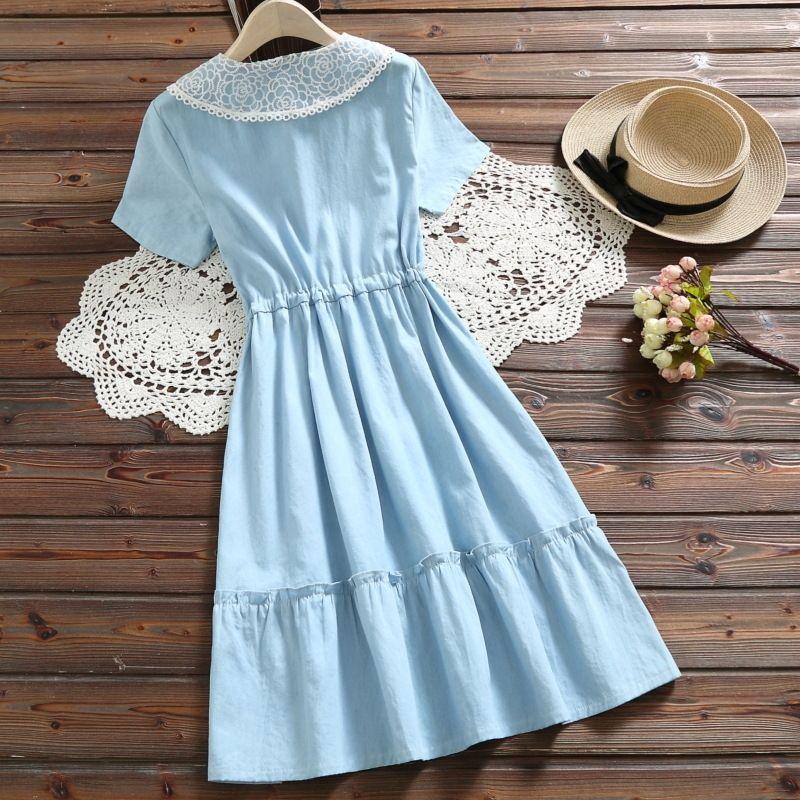 collar nuevo dril de algodón de la cintura del cordón del vestido de manga corta de verano de las mujeres para el vestido Mori lacelace lacewomen lZFIV
