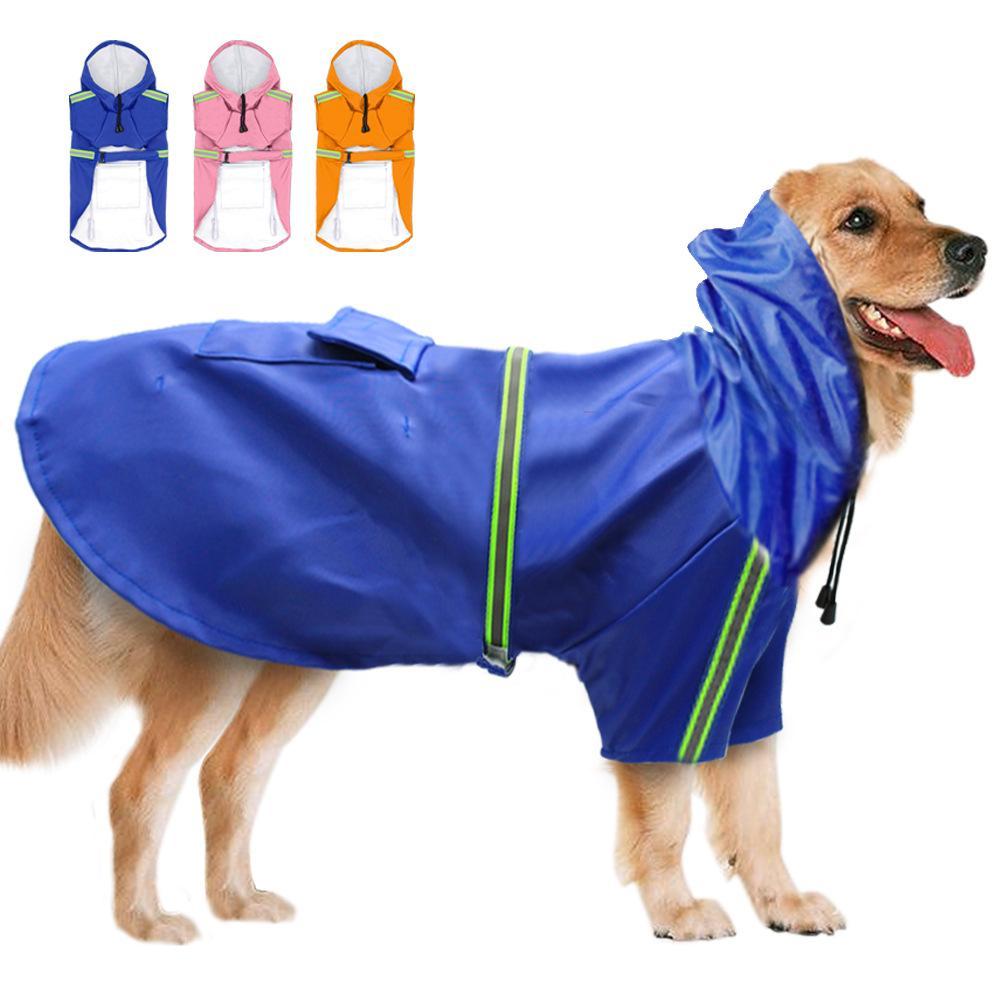 Dog Raincoat Vestes pluie imperméable de sécurité réfléchissants Bandes Pet Rainwear Sécurité fonctionnelle Veste Pet Products vêtements pour chiens