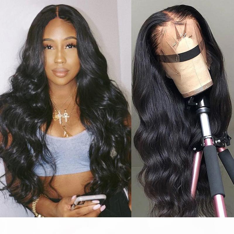 Onda do corpo dianteira do laço do cabelo humano Perucas HD Transparente Lace Wig frontal T Parte 180 Densidade ondulado peruca da parte dianteira brasileira perucas de cabelo