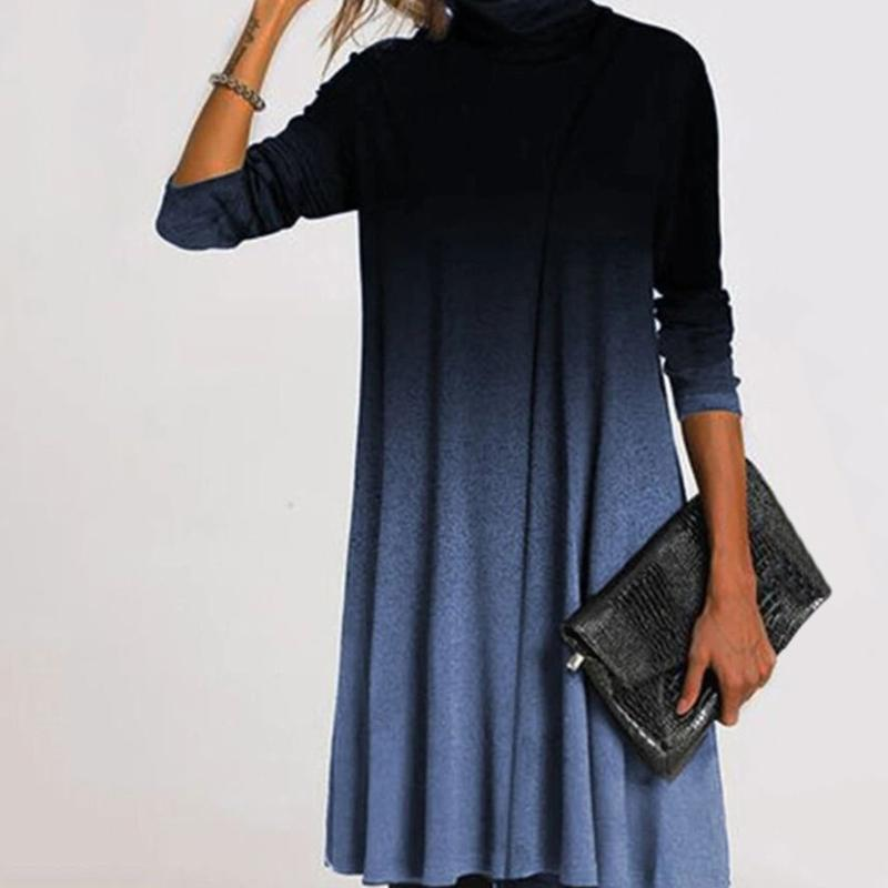 Winter Elegant Turtleneck Mini Dress Women Autumn Vintage Warm Print Dresses Loose Long Sleeve Plus Size Dress Vestidos 5XL D20