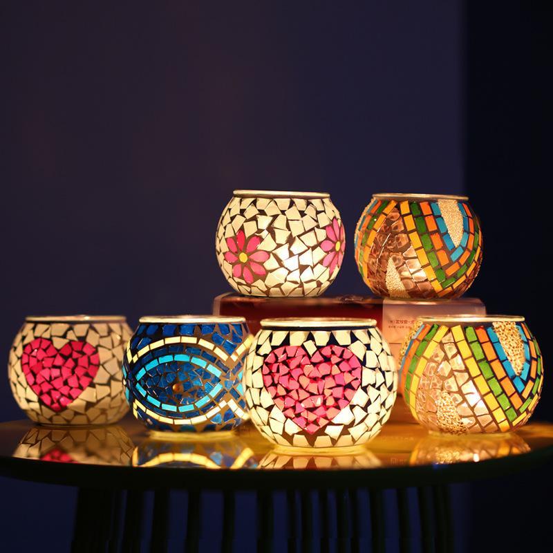 Crystal Glass Mosaico Portacandele Home Decorazione Domestica Decorazioni di nozze Decorazioni di nozze Candele Lanterna Regalo di San Valentino GWB8301