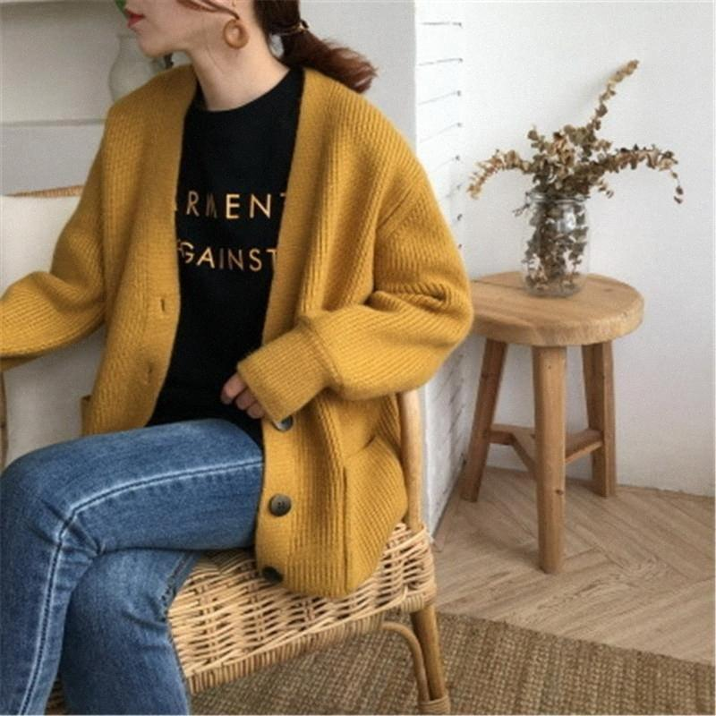 2020 2020 V Neck Pocket Long Sleeve Yellow Sweaters Oversize Long Cardigans Casual Knitted Single Breated Women Coat Jacket Outwear 2dEH#