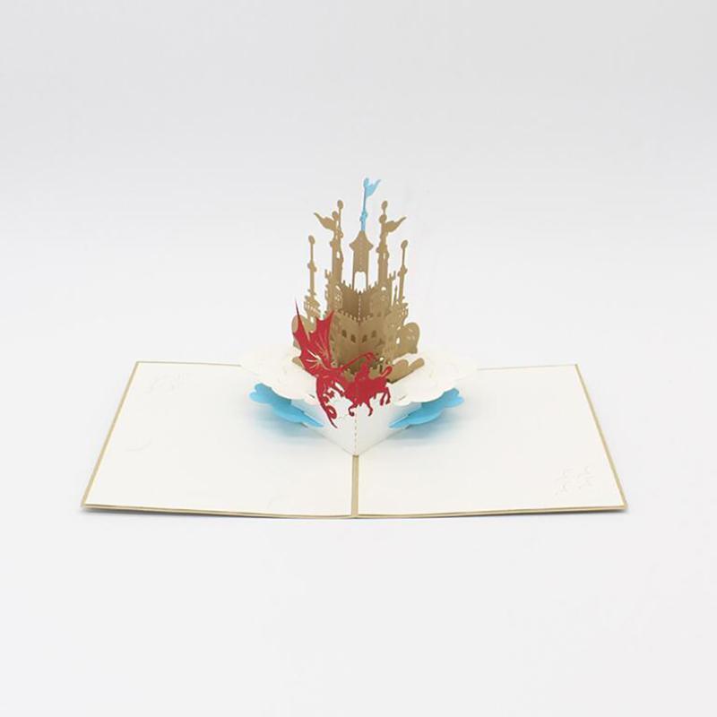 Convite do casamento do presente do amor 3D UP Castelo Cartões Dia dos Namorados Cartão Com Envelope Stickers Cartões Aniversário