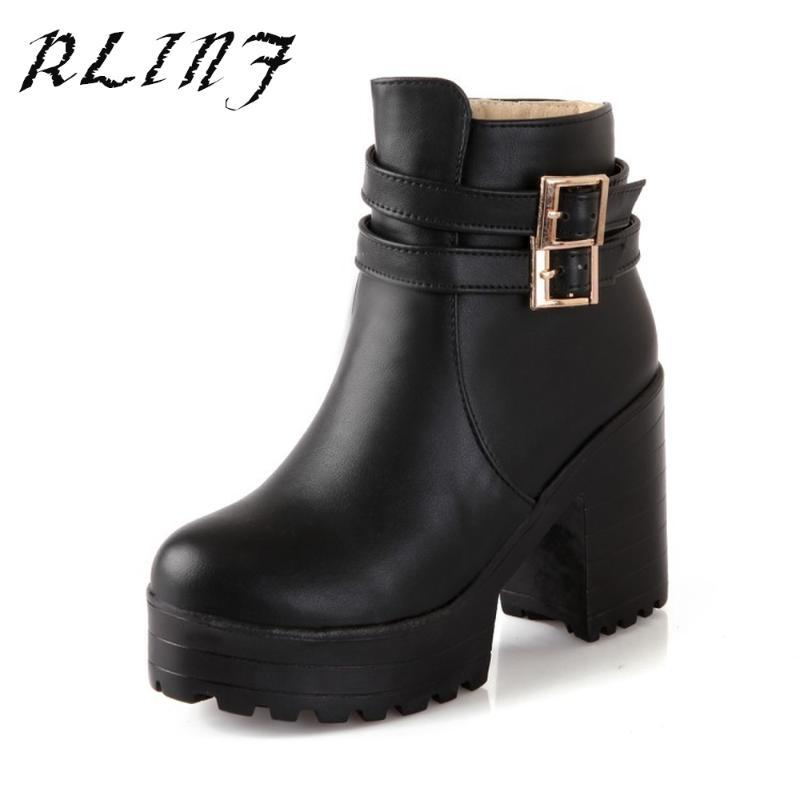 Retro Round Short Boots High Heel Thick with Spring and Winter Winter New Black Blue Wine Red Belt Buckle Solid Color