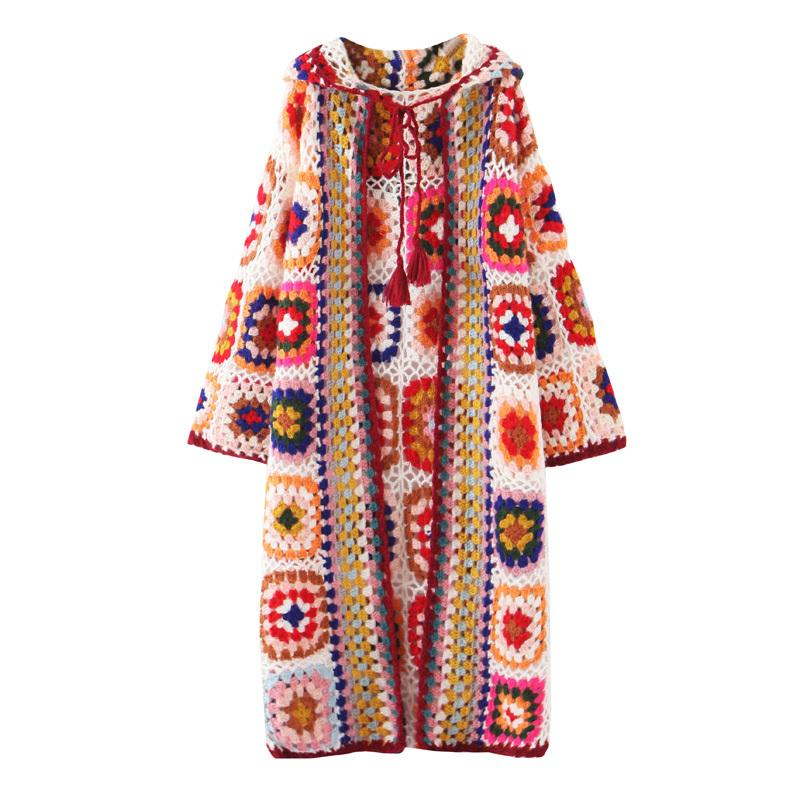Free Shipping Vintage Knitting Long Mid-calf Coat Women Hand Made Chinese Style Outerwear Long Sleeve Patchwork Hooded Dresses 201015
