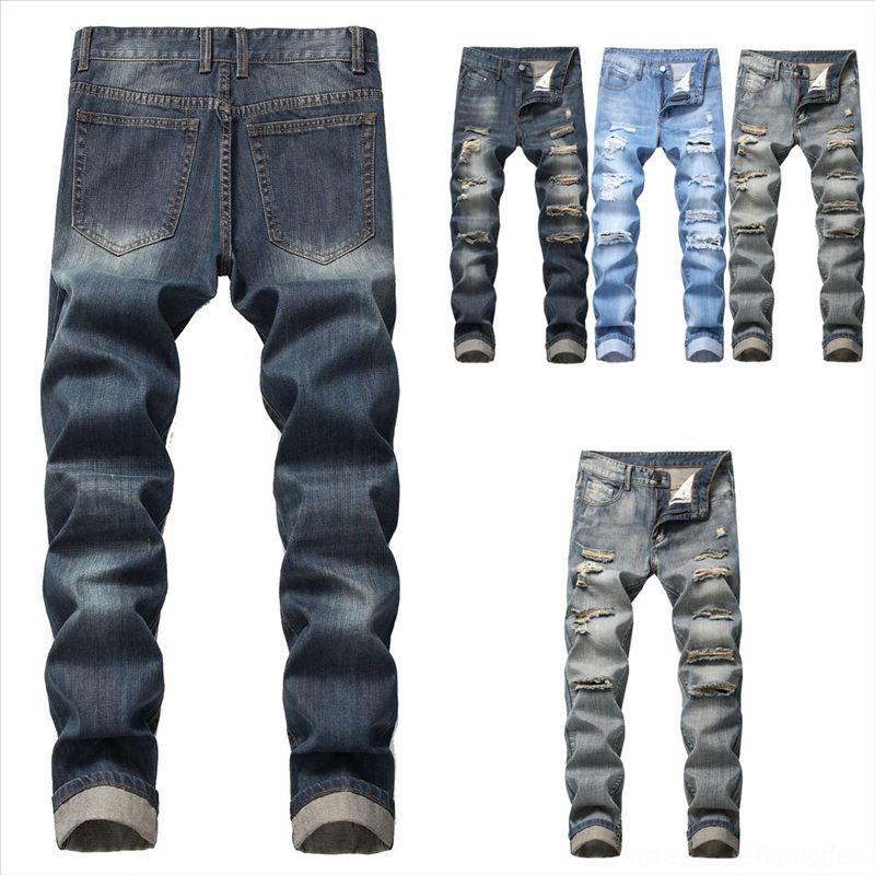 VHTMT Men Jeans Mens Plus Hole Pants Slim Pocket Jeans Fit Tuta Tuta Jeans Giorni Streetwear Streetwear Generale Trenens Astronde
