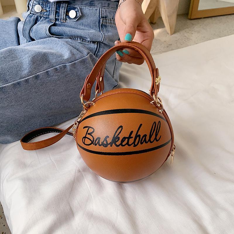 Basquetebol de mulheres marrons para moda senhora cadeia forma saco zíper bola bolsas bolsas de ombro bolsas messenger redondo crossbody bolsa oxkte