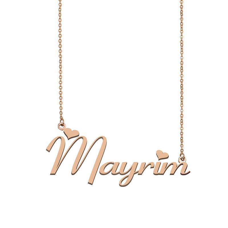 Mayrim Name Halskette Anhänger für Frauen Mädchen Geburtstagsgeschenk Kundenspezifische Typenschild Kinder Beste Freunde Schmuck 18 Karat vergoldet Edelstahl