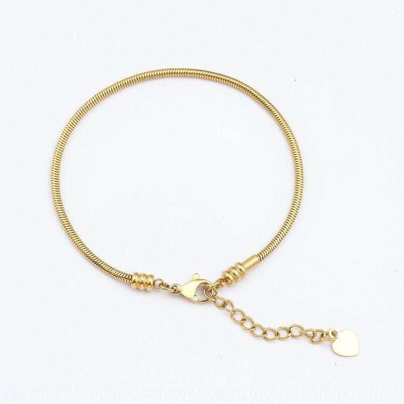 Cadena de hueso de la serpiente de oro de 18K hecha de acero de titanio 18k Pulsera de la cadena de la cadena de hueso de la serpiente de oro Hecho de acero de titanio KZ0KS