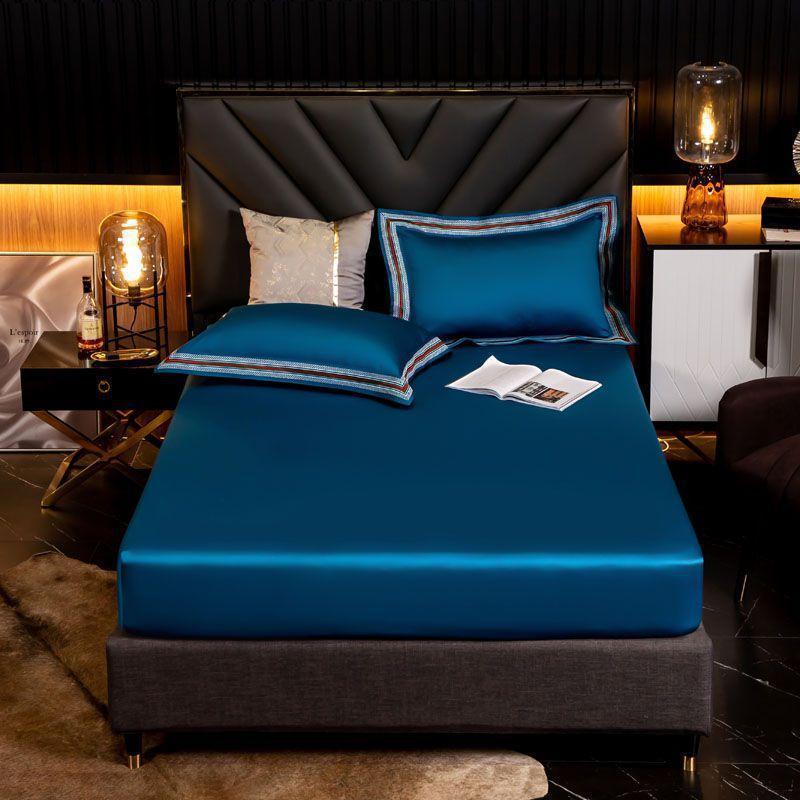 38 1000TC tributo de cetim de algodão egípcio cabido folhas de cama capa de colchão High-end tampa de cama lençóis elástico folha