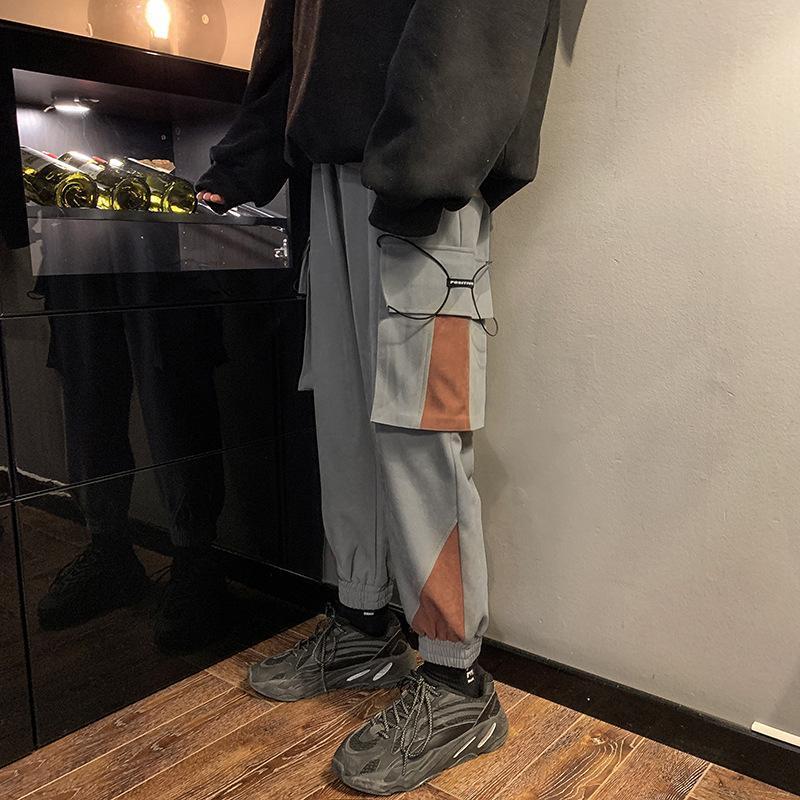 Лоскутное Hip Hop Карандаш Карманы Хип-хоп брюки для мужчин Повседневный Streetwear весна осень Мужской Брюки Студент Thin штанах