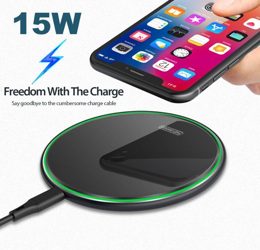 아이폰 (12) 삼성 S20를 들어 프로 최대 미니 11 XS 8 미러 빠른 무선 충전을위한 15W 치 무선 충전기 패드