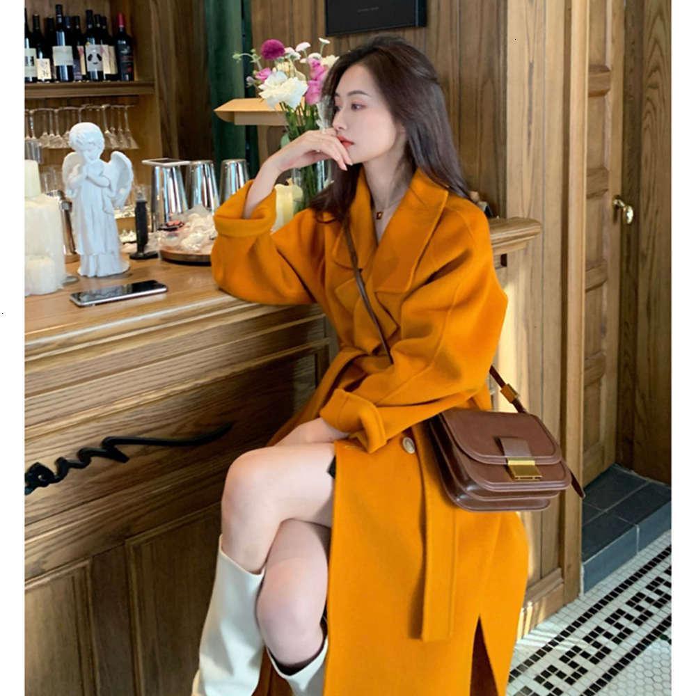 Combinaison française sur le genou Taille longue épaississement de coupe-vent jaune manteau de laine d'hiver des femmes 2020 nouveau
