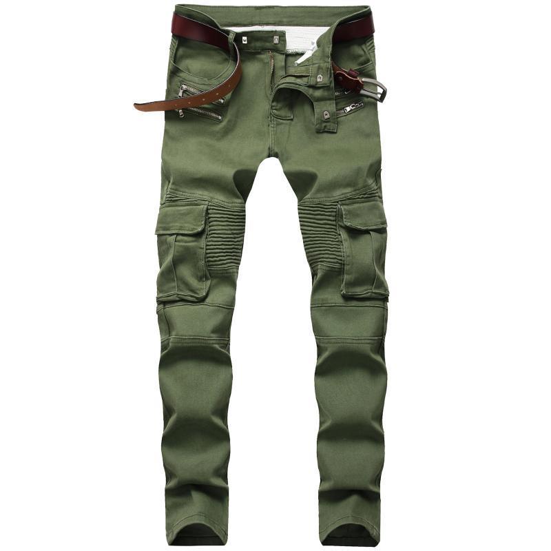 Erkek Kot Erkek Sıska Tasarımcı Amry Yeşil Slim Fit Moto Biker Erkekler Denim Pantolon Hip Hop Steetwear 1611 #