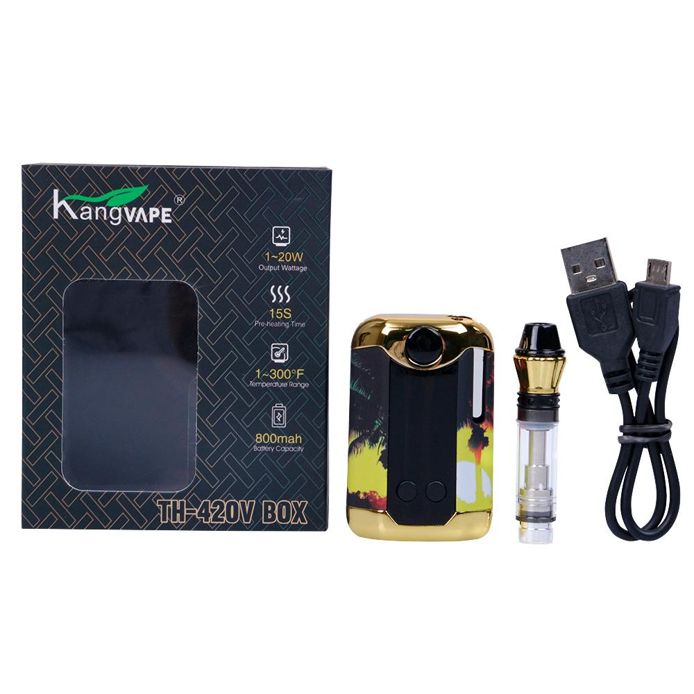 Original Kangvape TH420 V Box Kit 800mAh Pré-aqueça o Battery 0,5 ml Grosso Oil cartucho cerâmico Tanque TH420 Box Starter Kit Mod