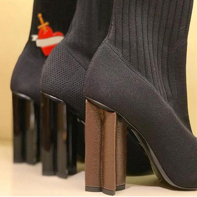 Melhor Silhueta martin Bota Mulheres High Heel estiramento Meias Botas e Plano Meia sapatilha tornozelo botas de luxo Sexy Lady Sapatos com caixa