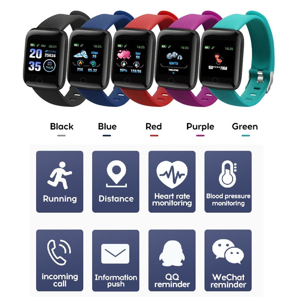 Fitness Tracker ID116 Plus Smart Bractele с сердечным уровнем Умный браслет кровяного давления 116 плюс F0 для Fitbit Mi Band 116Plus