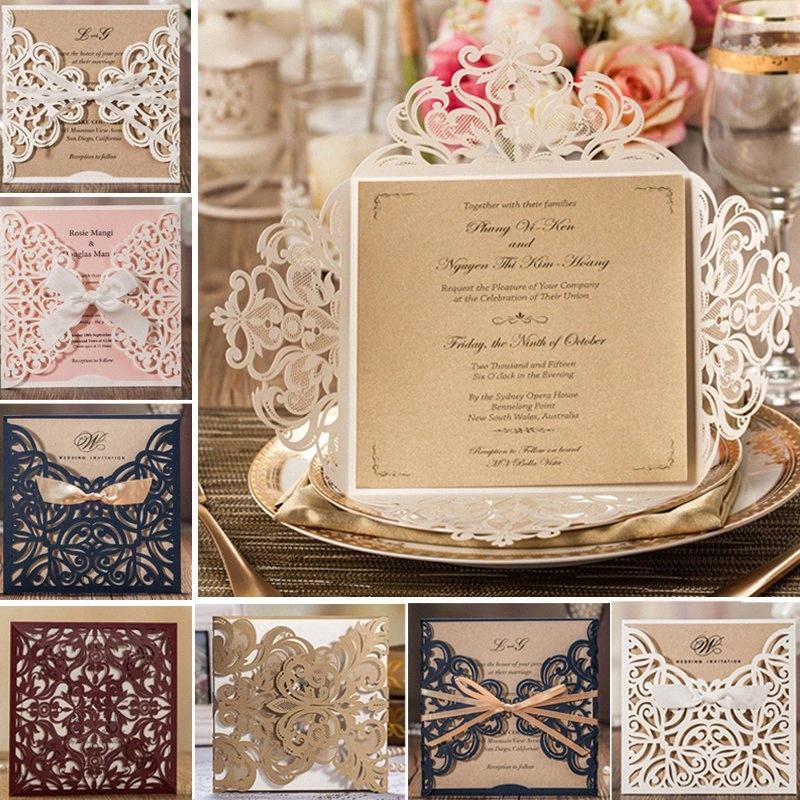 1 PCS Beispiel leere Blumen Laser-Schnitt-Hochzeits-Einladungen Elegante Partei Geburtstag mit Umschlag und Siegel z8zs #