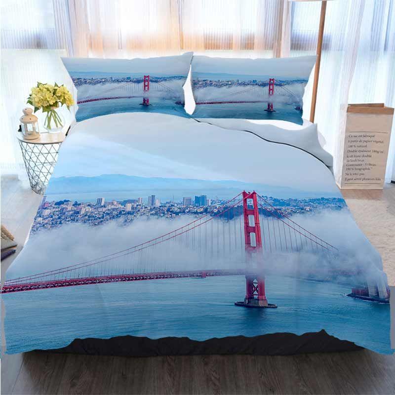 3pcs Bettwäsche Cotton Set Super King Bettbezug-Set Golden Gate Bridge mit niedrigem Nebel Francisco Quilt Bettwäsche Tröster Bettwäsche-Sets