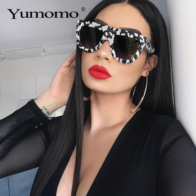 Солнцезащитные очки 2021 Квадратные Дамы Бренд Дизайнер Ретро Мрамор Цвет Мода Тон Лунит-де-Солей Femme1