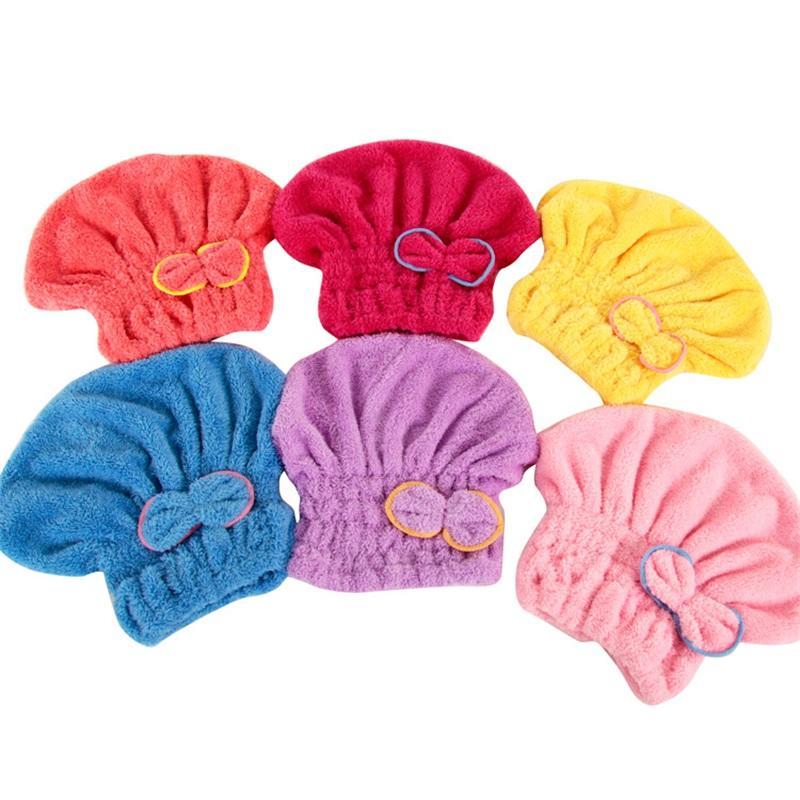 Niedliche Korallen-Fleece-Badetuch trockenes Haar Nylon Baumwolle Multi-Farben Bogen mit Kapuze Handtücher Trocknen Haare Kappe NEU 2 3HF L2