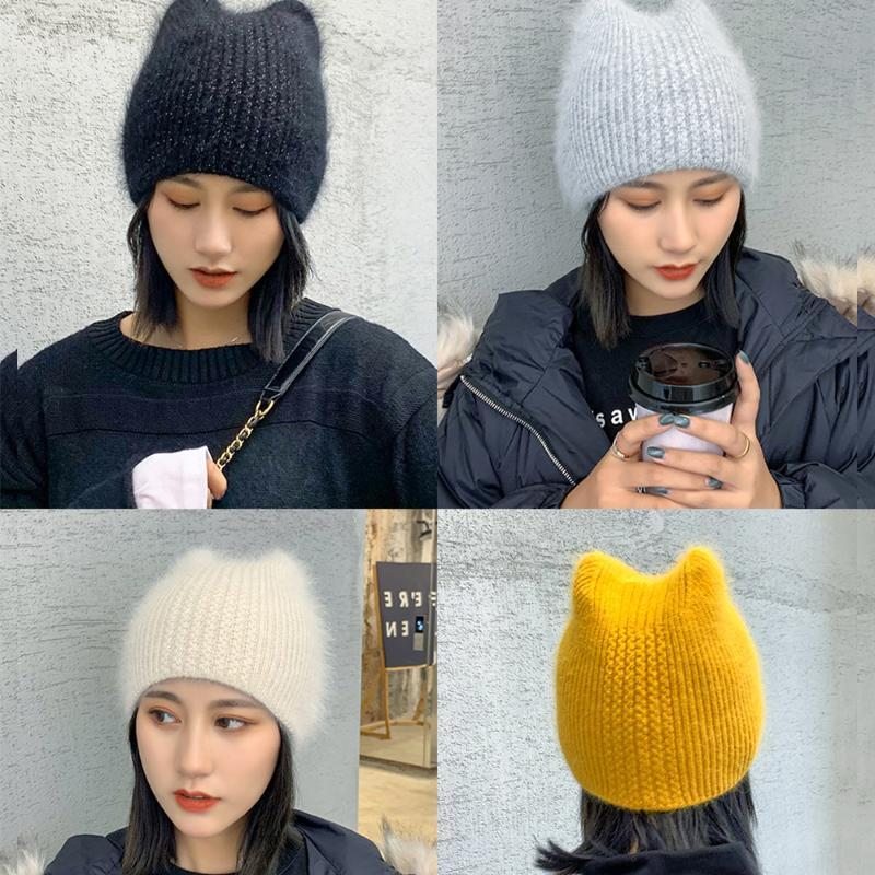 2020Women Kış Kış Basit Kız Kürk Kulaklar Bay Şapka Şapka Sıcak Yün gorros Kadın