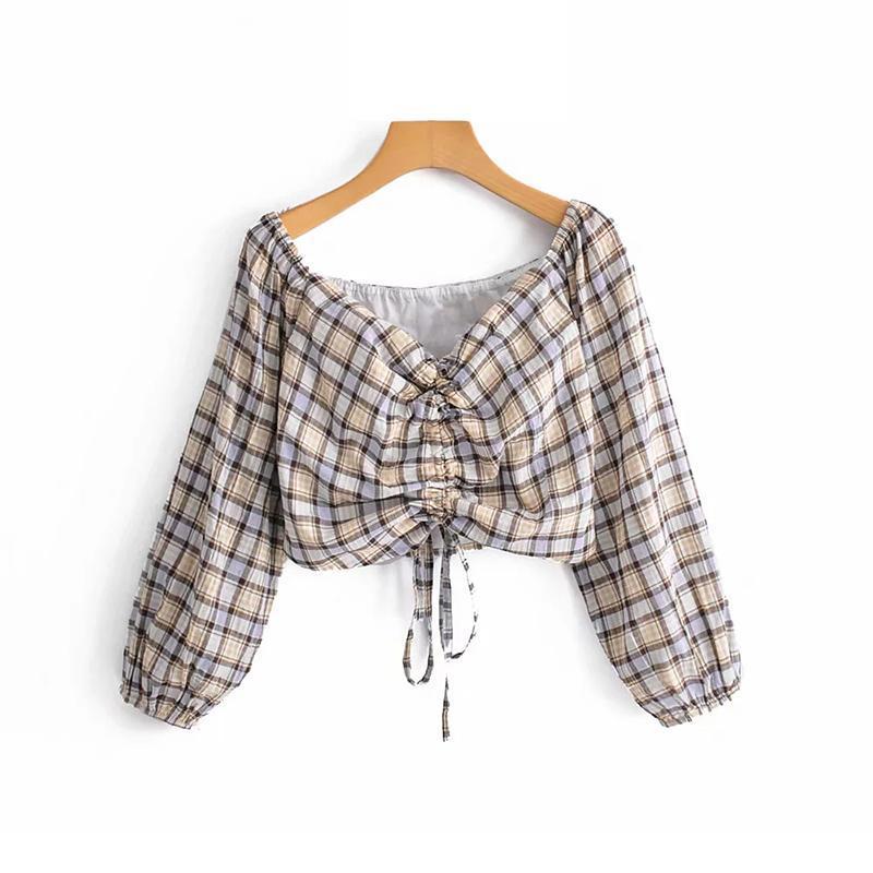 2020 supera le donne del bicchierino del cotone per ragazze shirt Bubble signore primavera-estate a maniche lunghe a quadri camicie di cotone Street-wear Top Femme