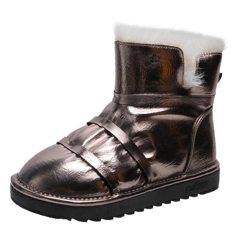 Горячие Продажа-Pu ботильоны Женская зимняя обувь Слип сапоги Женщина 2020 Мода утолщаются Теплый дизайн обуви для женщин Bottine Femme Solid New